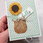 Seasonal Basket dies and Encircled in Beauty dies pair up for a sunflower card idea by Patty Bennett