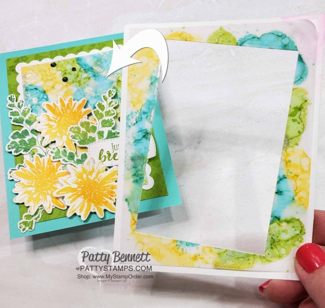 Stampin' Up! Positive Thoughts stamp set card idea featuring Alcohol Ink background and Rectangle Stitched die, by Patty Bennett www.PattyStamps.com