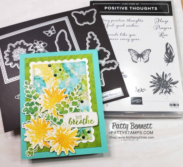 Stampin' Up! Positive Thoughts stamp set card idea featuring Alcohol Ink background, by Patty Bennett www.PattyStamps.com
