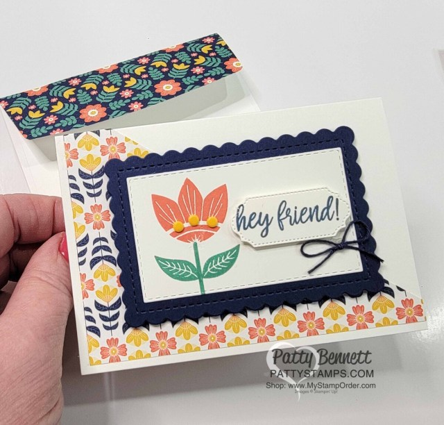 Stampin' UP! Sweet Symmetry designer paper easy note card idea. www.PattyStamps.com