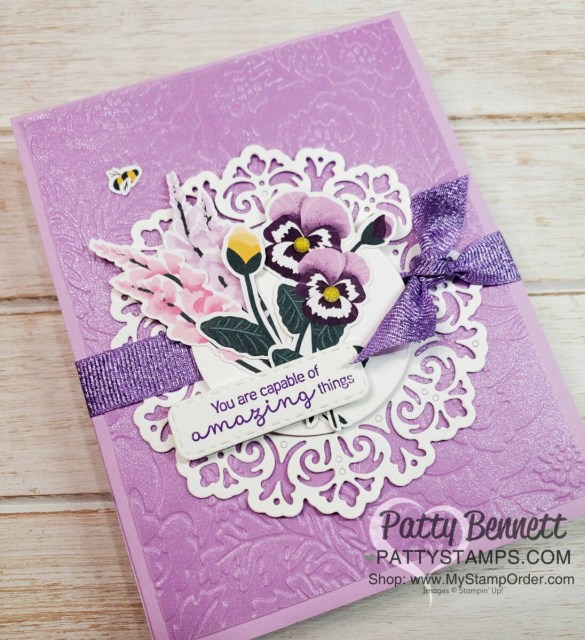 Pansy Petals designer paper from Stampin' Up! with Pretty Flowers embossing folder and Fresh Freesia Shimmer Vellum card idea. Featuring Encircled in Beauty dies. www.PattyStamps.com