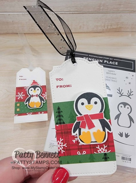 Penguin Place bundle Christmas to from tag ideas featuring Peaceful Prints designer paper and Tailor Made Tags. Stampin' Up! paper crafting supplies from Stampin' Up!