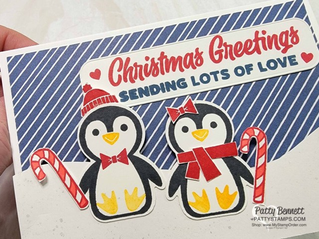 Penguin Place bundle featuring stamp set and punch from Stampin' UP! Note Card Idea by Patty Bennett