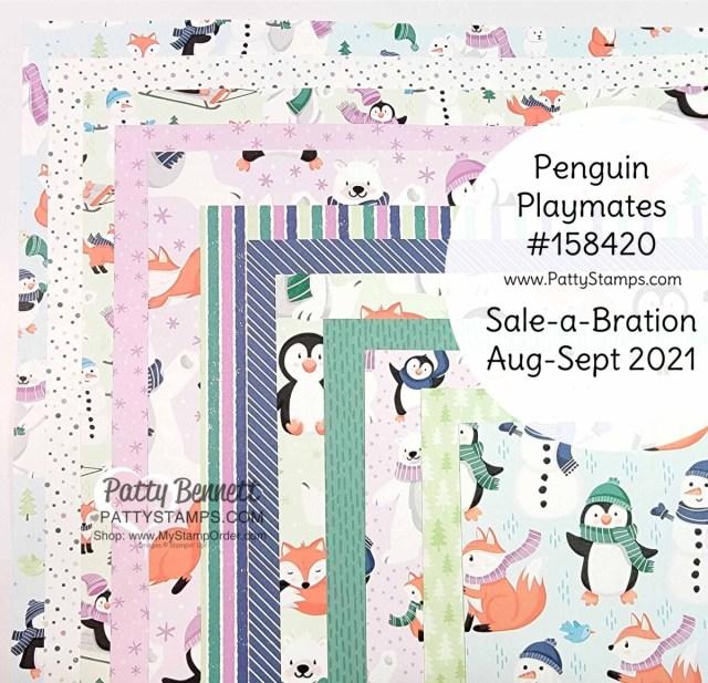 Stampin' Up! Sale-a-Bration Aug/Sept 2021 designer paper: Penguin Playmates #158420 www.PattyStamps.com