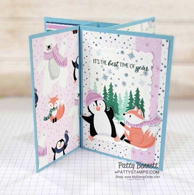 Pinwheel Tower Card featuring Stampin' UP! Penguin Place bundle, Peaceful Deer Set, with Penguin Playmates Sale-a-Bration paper!  by Patty Bennett www.PattyStamps.com