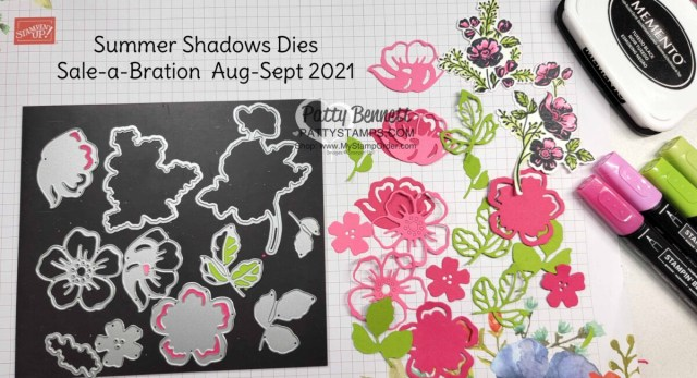 Stampin' UP! Sale-a-Bration Summer Shadows dies. www.PattyStamps.com