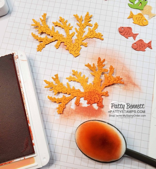 Use Stampin' UP! Blending Brushes to add color to the Coral Seascape Bundle dies.