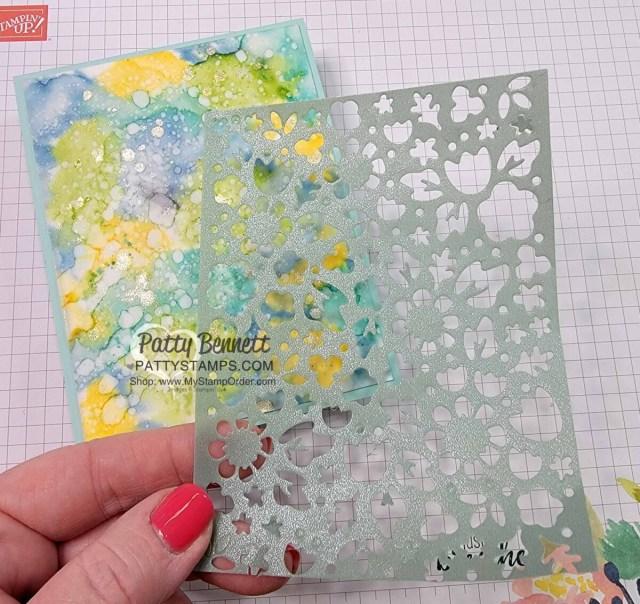 Shimmer Vellum die cut with Flower Market Die. Card by Patty Bennett