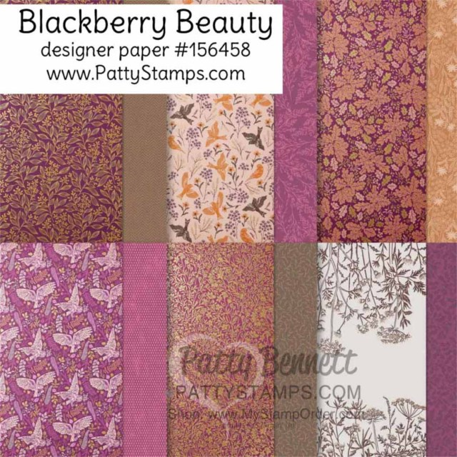 Stampin Up! Blackberry Beauty designer paper #156458 www.PattyStamps.com