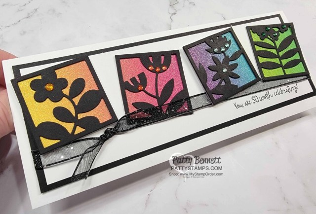 Slimline Card Idea featuring Stampin' Up! Floral Squares dies in black, All Squared Away bundle, and rainbow glimmer paper.