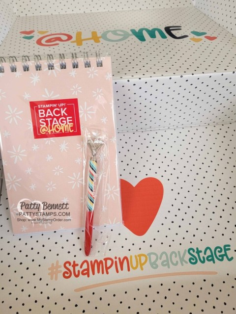 Stampin' UP! Backstage at home box Leadership 2021 event with note pad and pen. www.PattyStamps.com