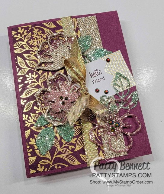 Stampin' Up! Sale-a-Bration 2021 Be Dazzling glitter paper colored with Stampin' Spritzers and ink refills. Summer Shadows dies card by Patty Bennett www.PattyStamps.com