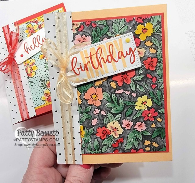 Cards with Stampin' Blends markers used to color the Beautifully Penned Stampin' UP! Sale-a-Bration paper and Biggest Wish stamp set. www.PattyStamps.com