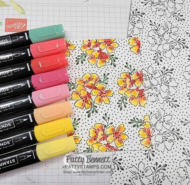 Coloring Sale-a-Bration Beautifully Penned designer paper with Stampin' Blends markers, with Patty Bennett www.PattyStamps.com