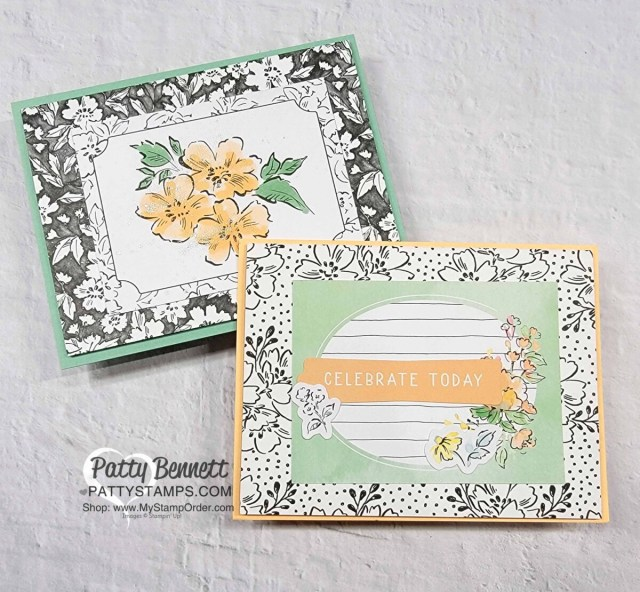 Beautifully Penned designer paper Sale-a-Bration gift from Stampin' Up! - Tri-fold pocket cards with Memories & More Cards by Patty Bennett