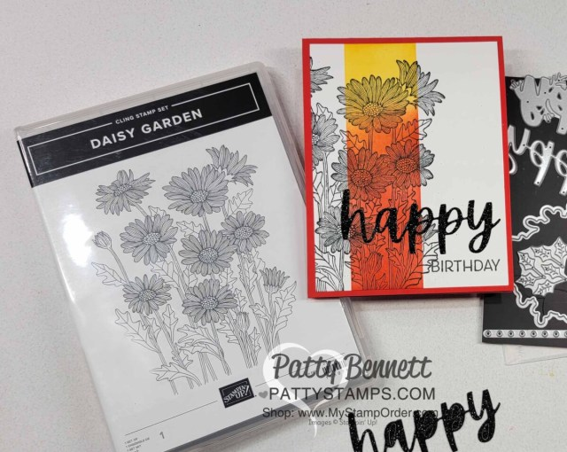 Card Idea and Ink Blending tips with Stampin' Up! Blending Brushes featuring Daisy Garden Background stamp. Video tutorial by Patty Bennett