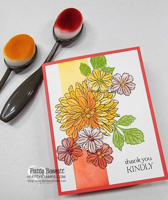 Card Idea and Ink Blending tips with Stampin' Up! Blending Brushes featuring Delicate Dahlias Sale-a-Bration stamp set. Video tutorial by Patty Bennett