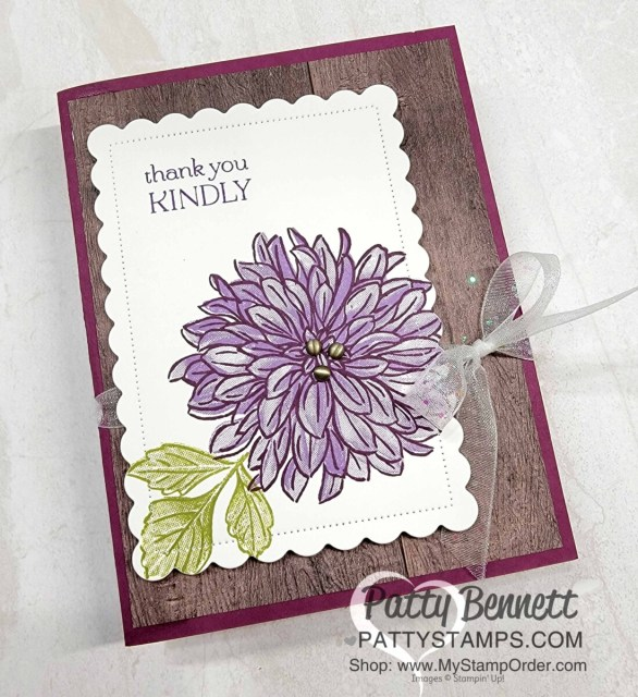 Sale-a-Bration Delicate Dahlias stamp set - card idea from Patty Bennett featuring In Good Taste woodgrain paper.