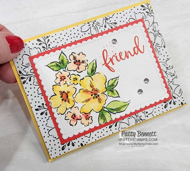 Trifold Card idea featuring Stampin' Up! Sale-a-Bration Beautifully Penned designer paper, Hand-Penned petals stamp set colored with Stampin' Blends markers, and Biggest Wish set. by Patty Bennett www.PattyStamps.com