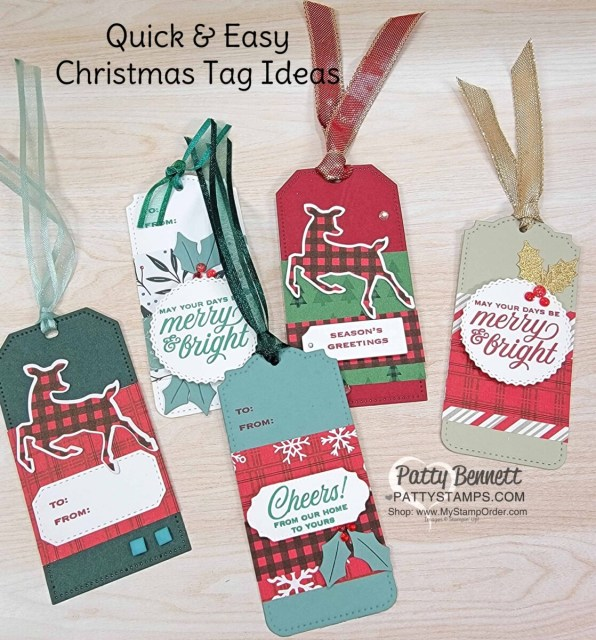 Quick & Easy Christmas gift tags featuring Stampin' Up! Tailor Made Tags dies and Peaceful Prints Sale-a-Bration designer paper.