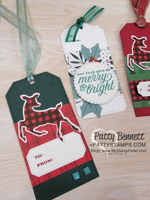 Peaceful Prints designer paper coordinates with the Deer Punch - great for Christmas gift tags.