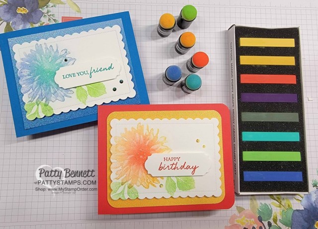 Stampin' UP! Soft Pastels - with Versamark ink and Sponge Daubers, featuring Sale-a-Bration Delicate Dahlias stamp set. by Patty Bennett www.PattyStamps.com