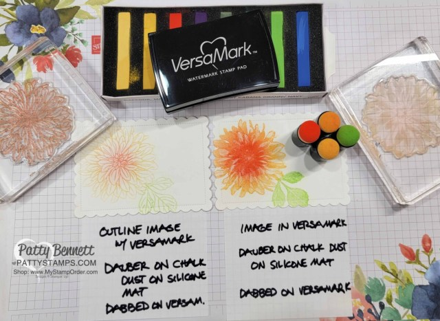 Soft Pastels Assortment from Stampin' UP! with Delicate Dahlias stamp set. How to use sponge daubers and a Versamark pad with Pastels.
