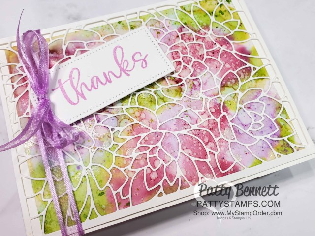Card idea: Alcohol ink background technique card idea featuring Stampin' Up! Potted Succulents die overlay and Stampin' Blends markers, by Patty Bennett www.PattyStamps.com