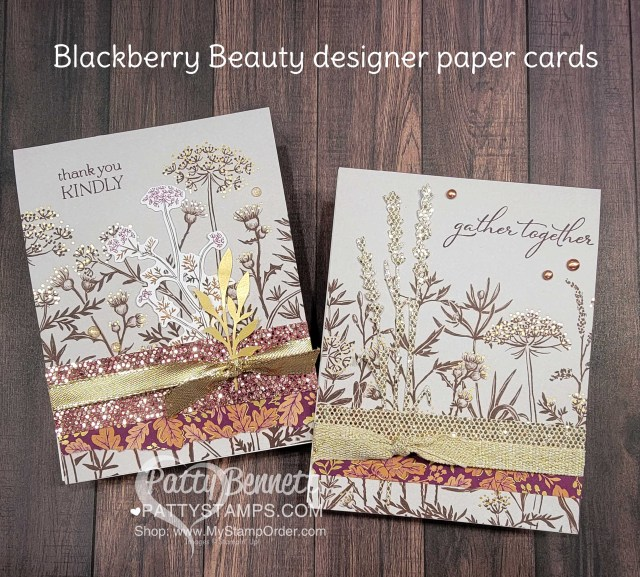 Fall Stampin' UP! card ideas featuring Blackberry Beauty designer paper and Ephemera pack by Patty Bennett, www.PattyStamps.com