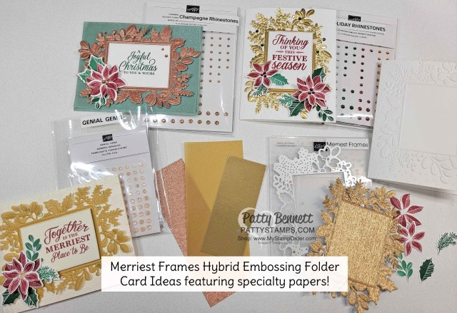 3 Card Ideas for the Stampin' Up! Merriest Moments Hybrid Embossing Folder, by Patty Bennett, www.PattyStamps.com