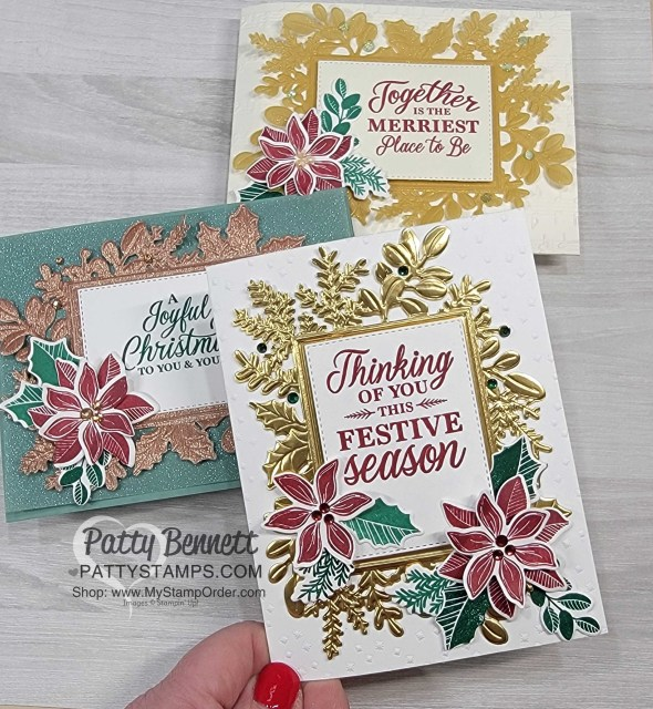 3 Christmas Card Ideas for the Stampin' Up! Merriest Frames Hybrid Embossing Folder, by Patty Bennett, www.PattyStamps.com