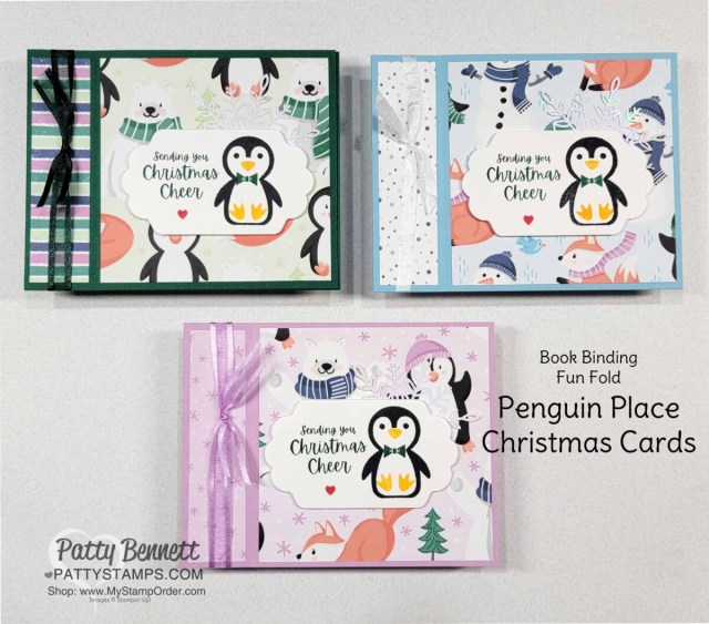 Penguin Place Book Binding Fun Fold customer thank you cards featuring Stampin' Up! Sale-a-Bration Penguin Playmates designer paper, by Patty Bennett