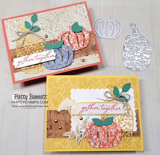 Pretty Pumpkin bundle Stampin' Up! fall card with Harvest Meadow DSP and cork paper. by Patty Bennett www.PattyStamps.com