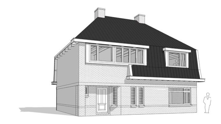 Renovatie woning Beckumerstraat te Boekelo digitale zwart wit 3D tekening van linksvoor van het nieuwe ontwerp. Architect Enschede Markelo Hengelo Haaksbergen Almelo Oldenzaal Borne