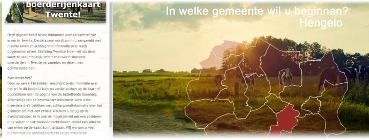 Snapshot van de Buurtenkaart. Links is een tekstvlak met de welkomsttekst, rechts zijn in het rood alle gemeentes van Twente te zien met als achtergrondfoto het Twentse landschap met een paar nieuwsgierige koeien. Twentse Erven. Architect Enschede Markelo Hengelo Haaksbergen Almelo Oldenzaal Borne