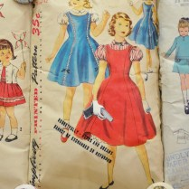 Daddy's Little Princess, 110x120x10cm, vintage sewing patterns, watercolour, headboard legs (2012)