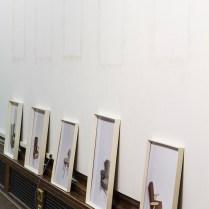 The Enfield Poltergeist, 180x500x10cm, digital college on easy-wipe vinyl, found frames, dust (2014)