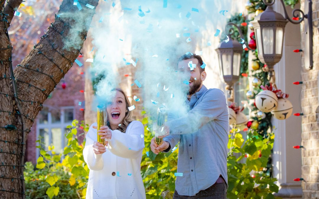 Lots of Blue Smoke and Confetti:  A Very Special Gender Reveal Photo Session