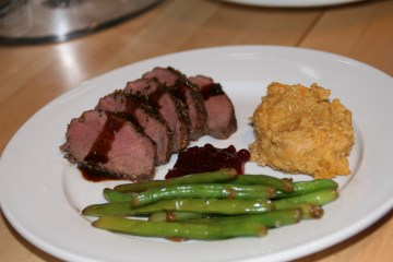 Pepper-crusted venison tenderloin
