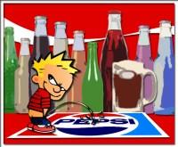Calvin peeing on an older Pepsi logo