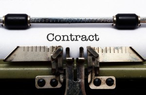 Contract on typewriter