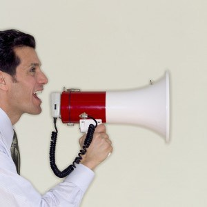 man using a megaphone