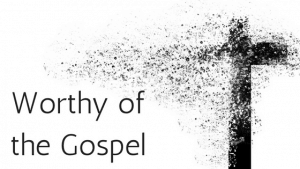 cross disintegrating with title worthy of the gospel
