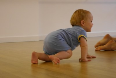 Baby Crawling Bare Feet