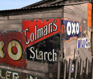 Rusting reminders. Old advertising signs, Beamish