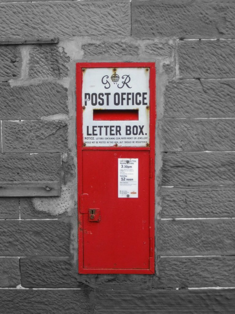 Postbox in wall, Scotland