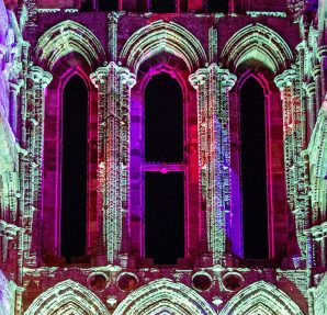 Whitby Abbey Illuminated at night