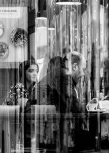 Mono image of cafe