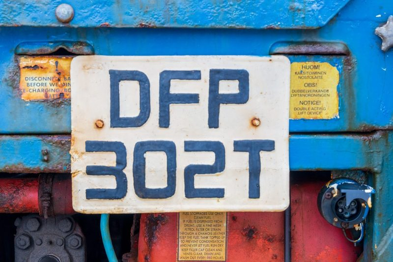 Number plate on Tractor