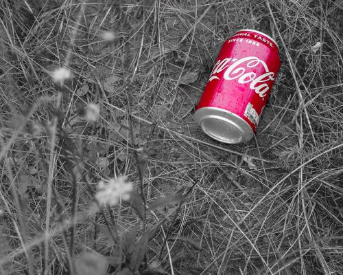 Coke can in the grass